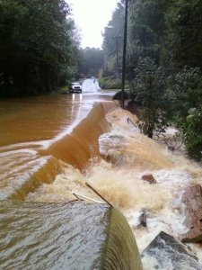 Badly Damaged Road Due to Flooding in Metro Atlanta